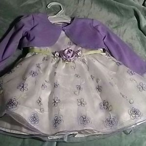 YOUNGLAND WHITE & LAVENDER DRESS SZ 2T